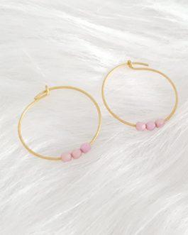 Boucles d'oreilles perles bohème rose