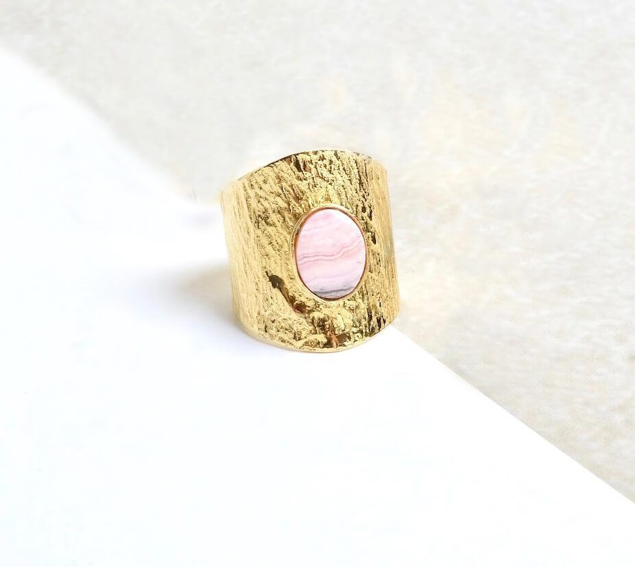 Bague large Rhodochrosite or
