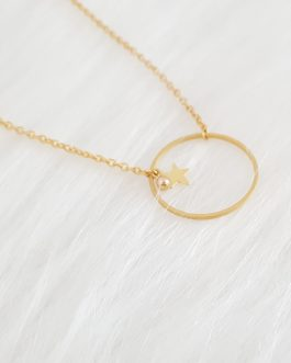 Collier cercle étoile or 24k