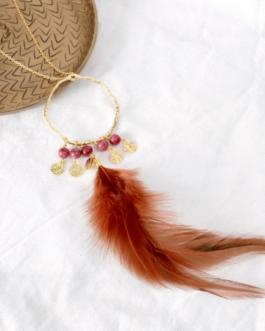 Collier rhodonite plume