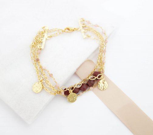 Bracelet pampille martelée jaspe