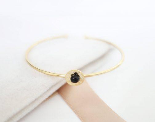 Bracelet jonc martelé onyx