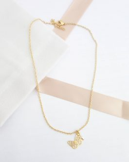 Collier papillon perle cristal
