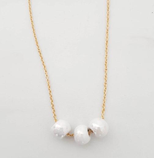Collier perle nacrée céramique