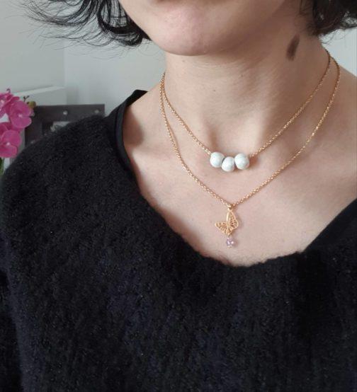 Collier papillon perle lilas