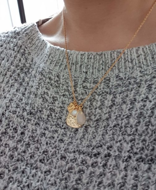 Collier initial argent925 or24k
