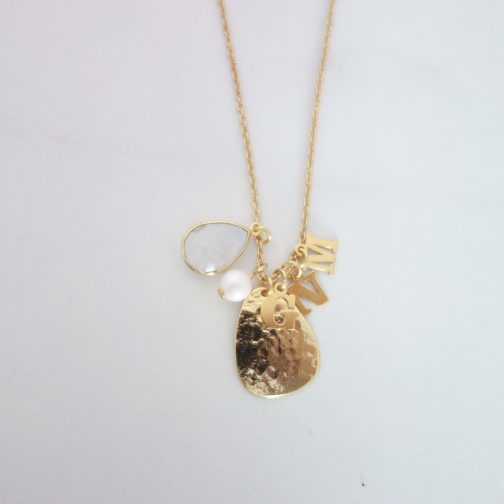 Collier initiale argent925 or24k