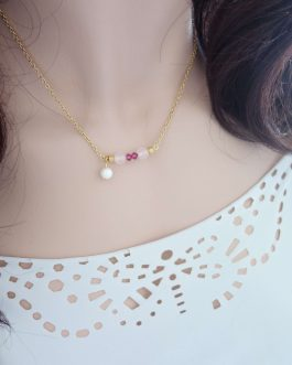 Collier perle rose