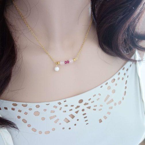 Collier perle rose