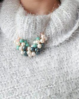 Collier grappes perles Swarovski