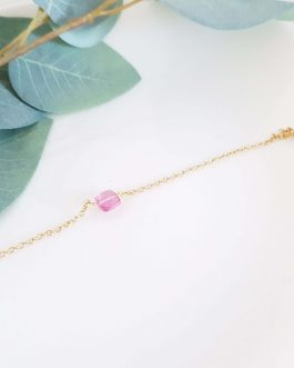 Bracelet tourmaline rose facetté