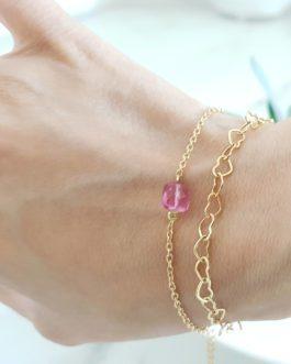 Bracelet tourmaline rose facetté