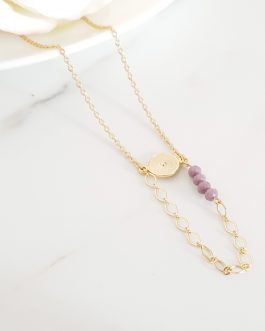 Collier perle lilas chaine