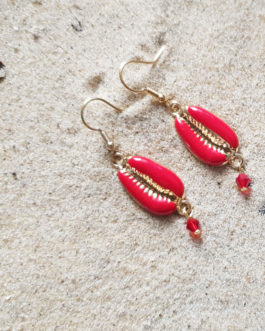 Boucles d'oreilles cauris rouge