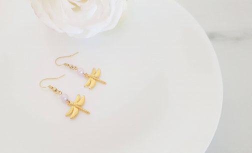 Boucles d'oreilles libellule rose