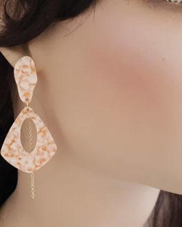 Boucles d'oreilles acétate/rose chaine