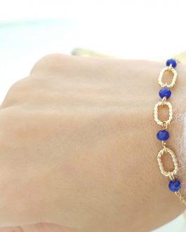 Bracelet maillons perles bleues