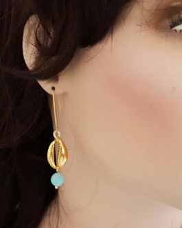 Boucles d'oreilles cauris amazonite