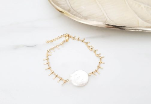 Bracelet chaine barre nacre