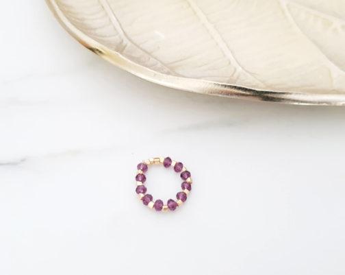 Bague perle cristal améthyste