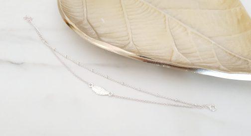 Bracelet plume chaine boule