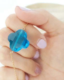 Bracelet trèfle facetté bleu