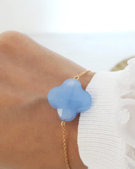 Bracelet trèfle bleu opal