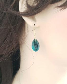 Boucles d'oreilles cauris vert