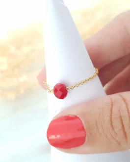 Bague chaine perle rouge