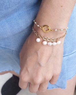 Bracelet chaîne ovale nacre