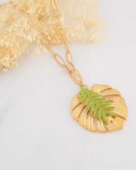 Collier feuilles tropicales