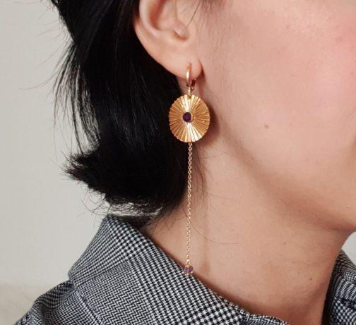 Boucles d'oreilles pendante améthyste